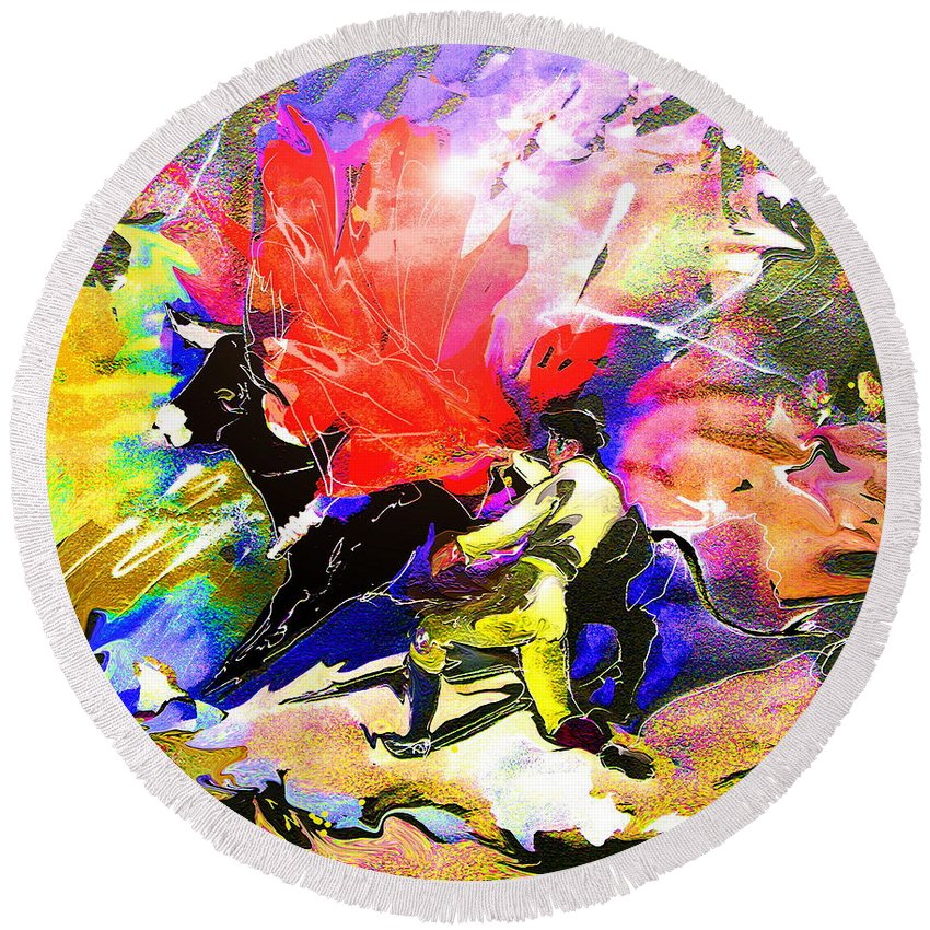 Animals Round Beach Towel featuring the painting Toroscape 06 by Miki De Goodaboom