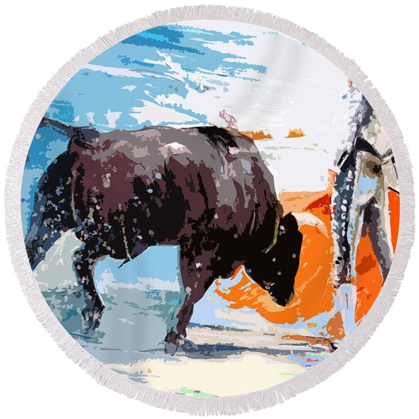 Bullfight Round Beach Towel featuring the painting Toroscape 37 by Miki De Goodaboom