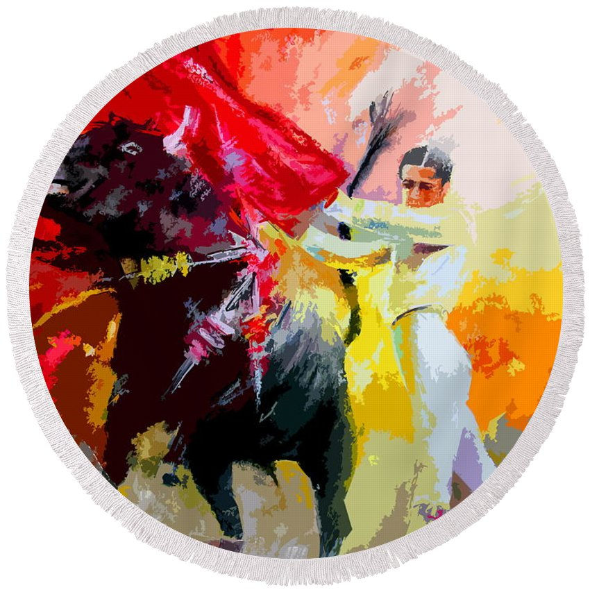 Animals Round Beach Towel featuring the painting Toroscape 41 by Miki De Goodaboom