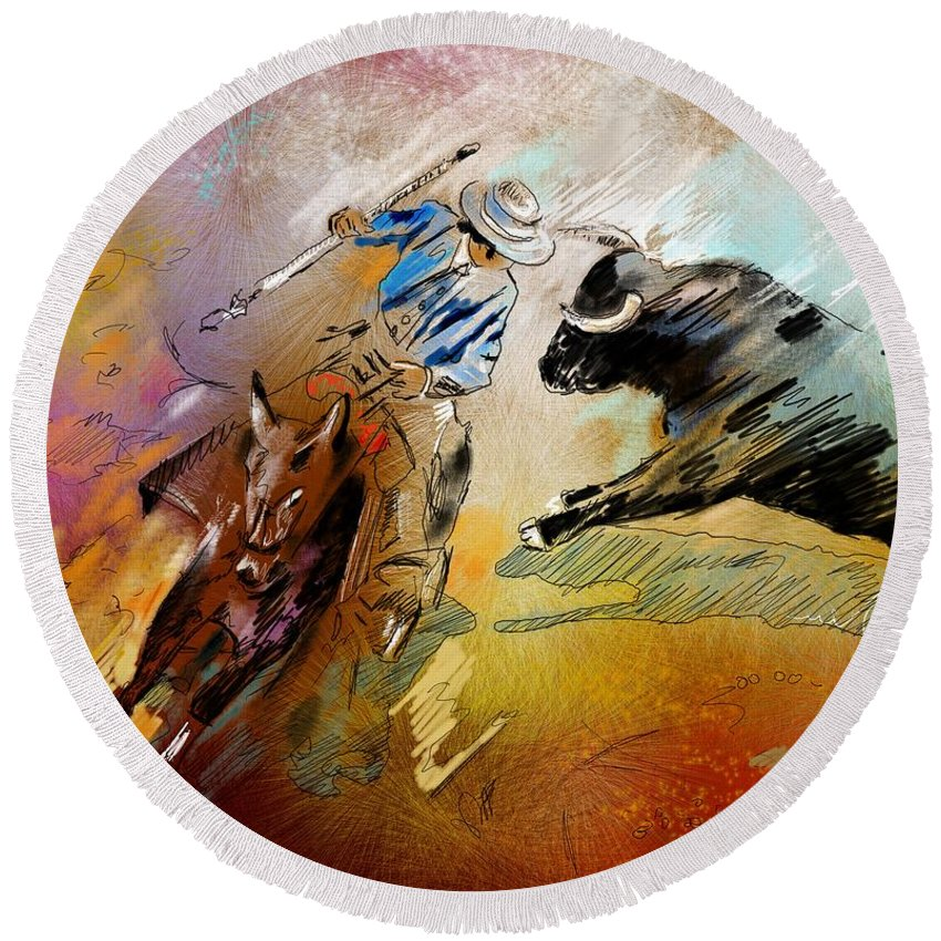 Bullfight Round Beach Towel featuring the painting Toroscape 42 by Miki De Goodaboom