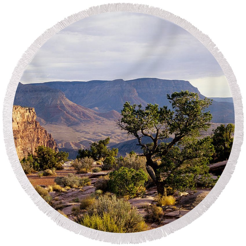 Arizona Round Beach Towel featuring the photograph Toroweap by Kathy McClure
