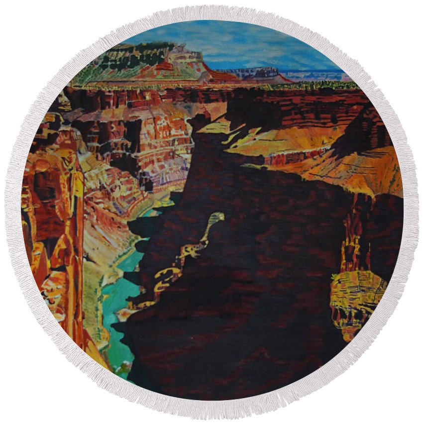 Arizona Round Beach Towel featuring the photograph Toroweap Point - Grand Canyon by Rich Walter