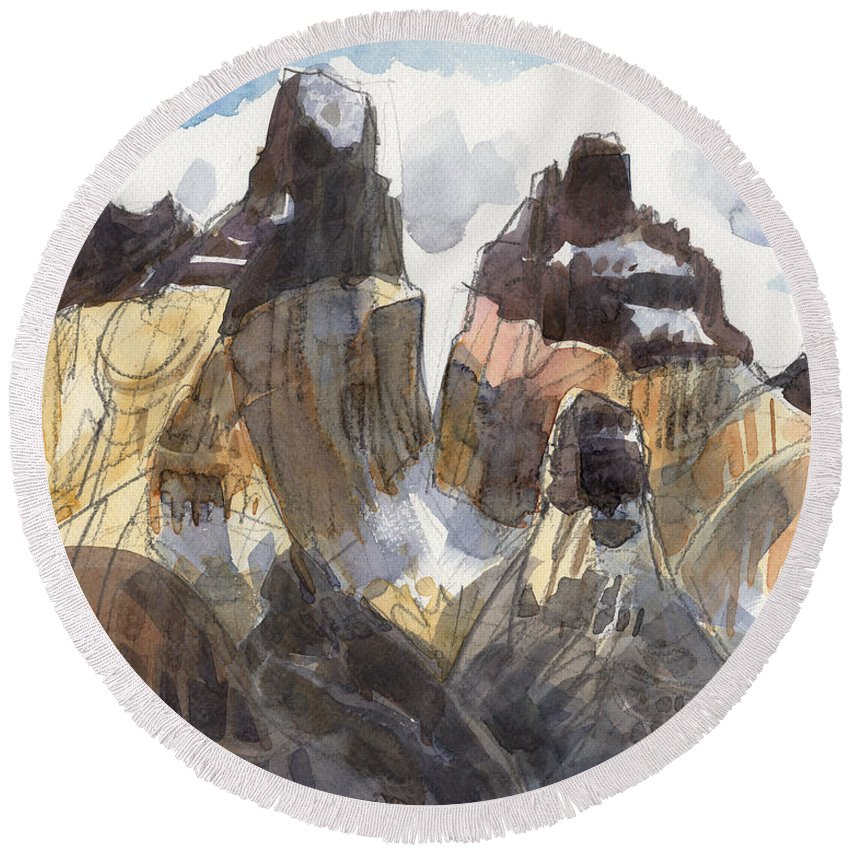 Landscape Round Beach Towel featuring the painting Torres Del Paine, Chile by Judith Kunzle