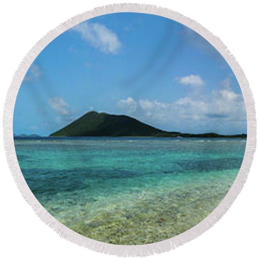 I Love The Vvi Round Beach Towel featuring the photograph Tortola Waters by Jon Neidert