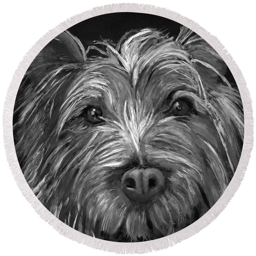 Dogs Round Beach Towel featuring the painting Tosha The Highland Terrier by Portraits By NC