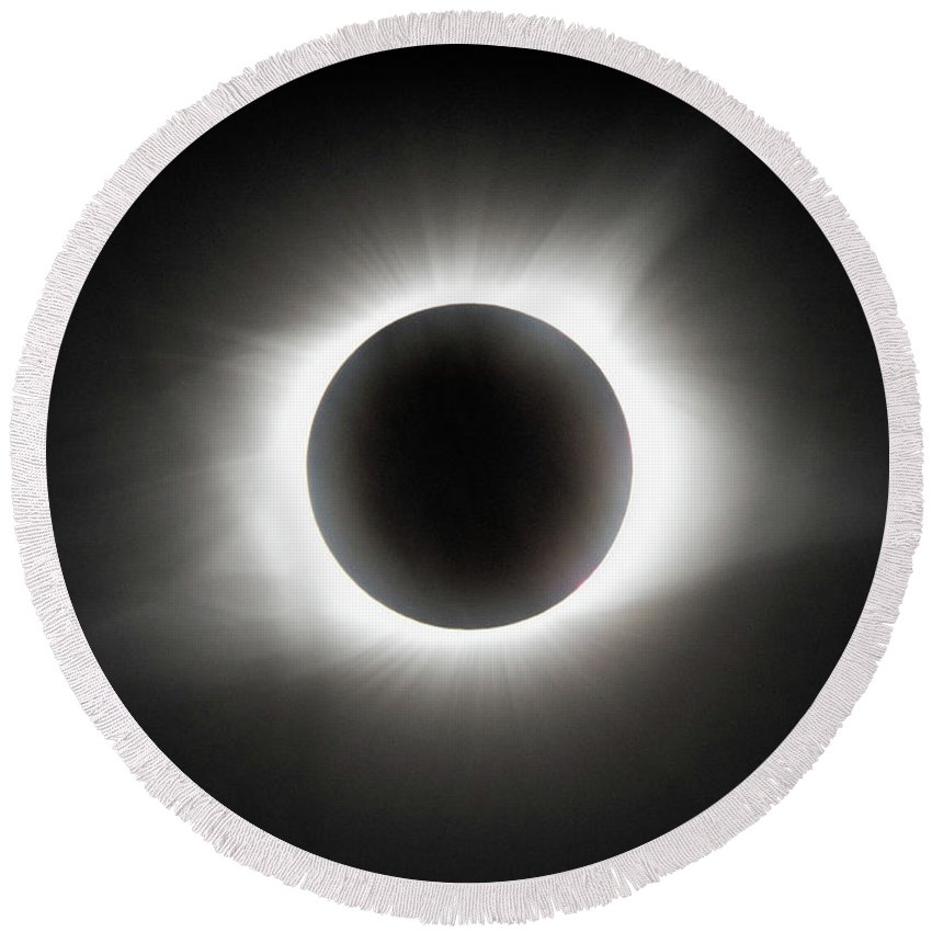 Eclipse Round Beach Towel featuring the photograph Totality by Dawn Loehr