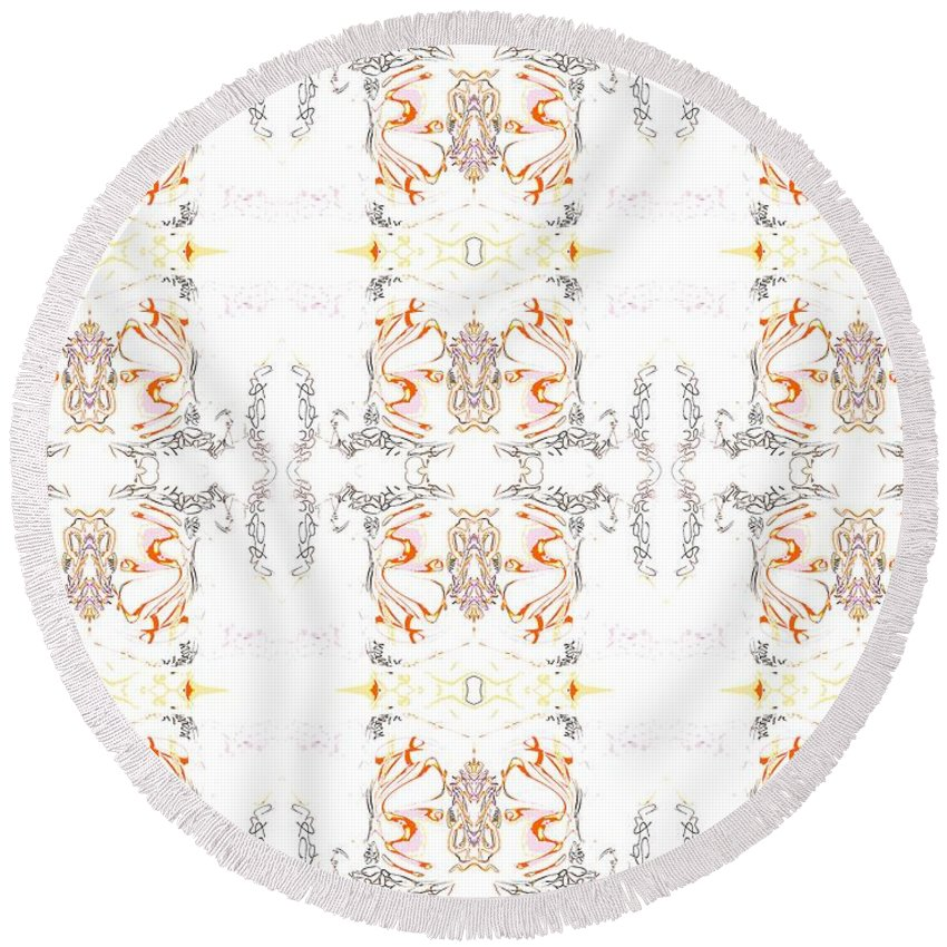 Abstract Pattern Round Beach Towel featuring the digital art Totheme Light by Elisabeth Skajem Atter