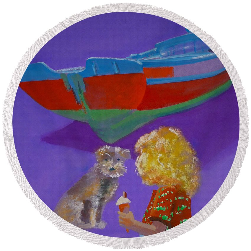 Blonde Round Beach Towel featuring the painting Toto by Charles Stuart
