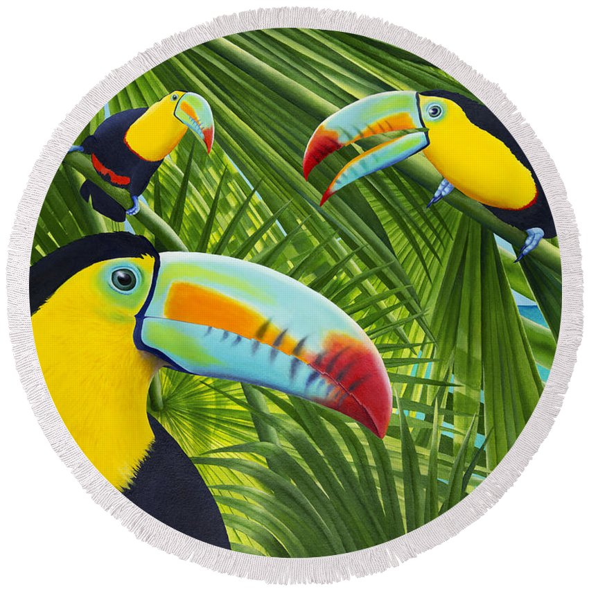 Carolyn Steele Round Beach Towel featuring the painting Toucan Threesome by Carolyn Steele