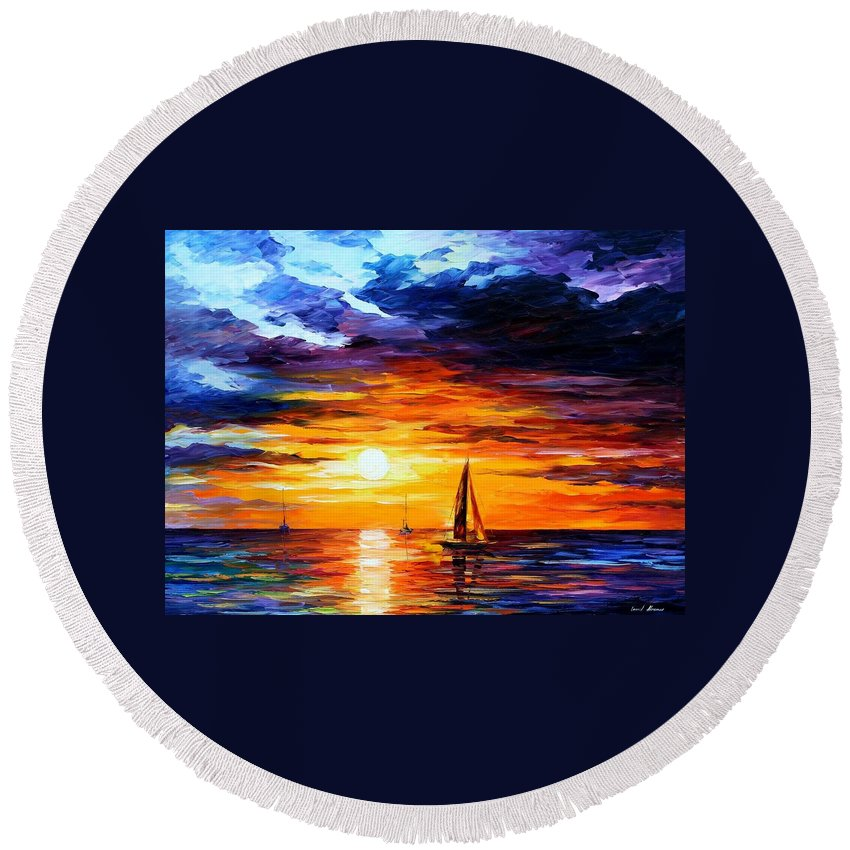 Afremov Round Beach Towel featuring the painting Touch Of Horizon by Leonid Afremov