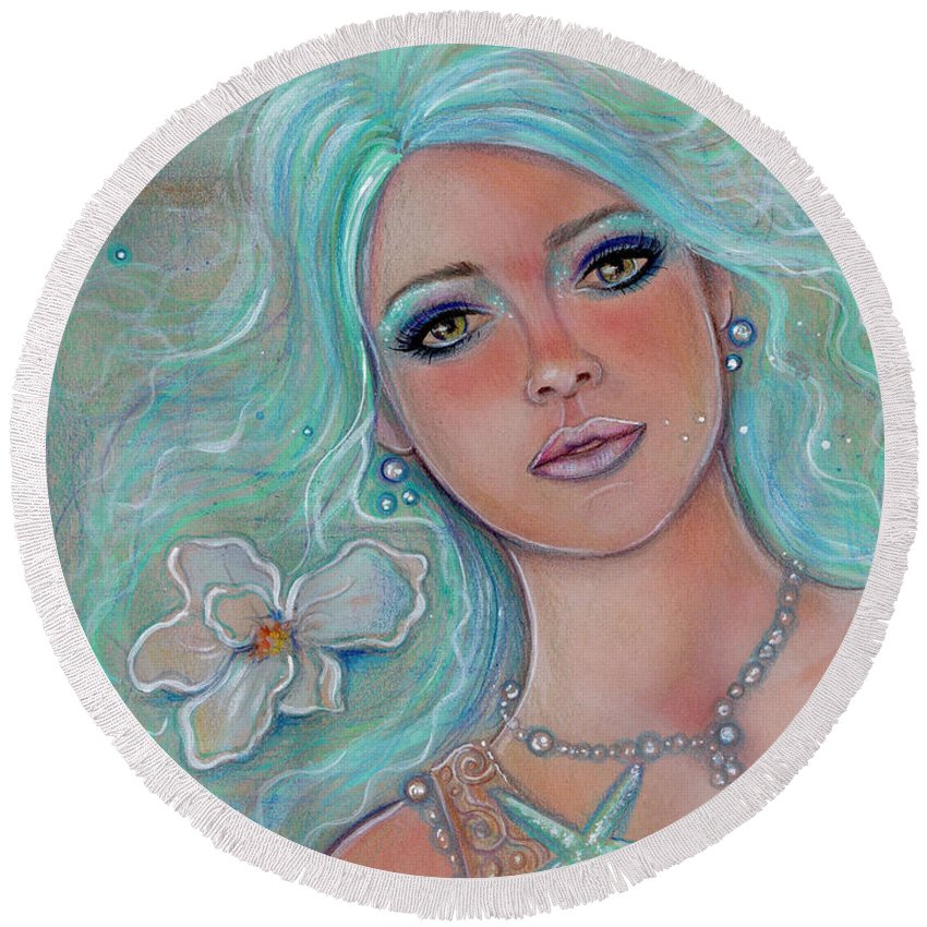 Mermaid Round Beach Towel featuring the painting Touch Of Spring Mermaid by Renee Lavoie