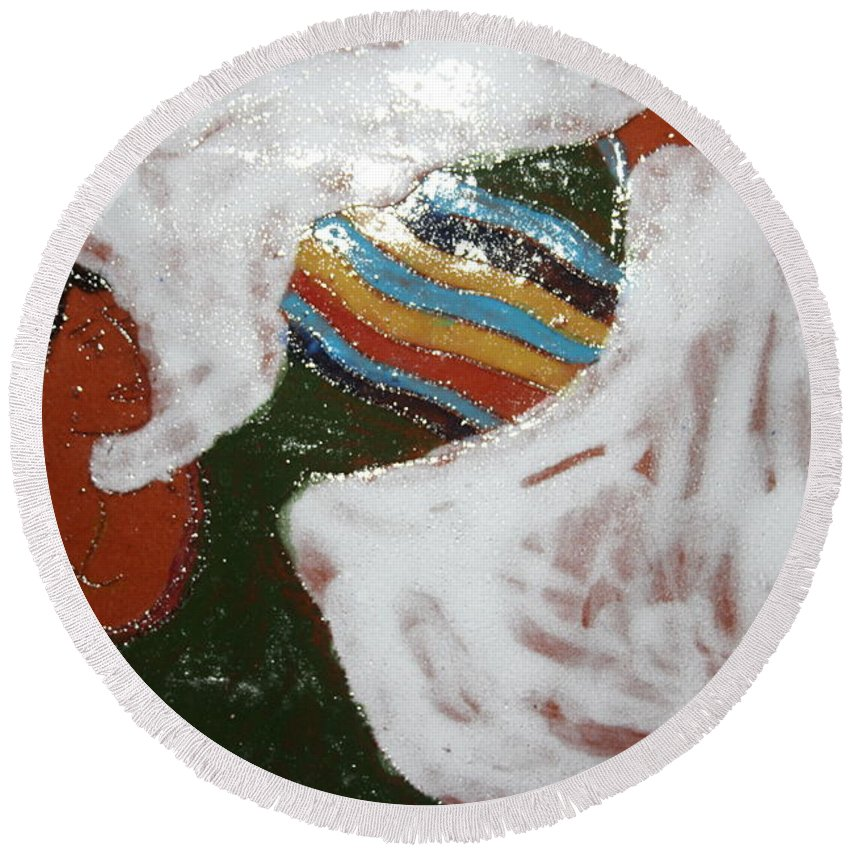 Jesus Round Beach Towel featuring the ceramic art Touch The Sky - Tile by Gloria Ssali
