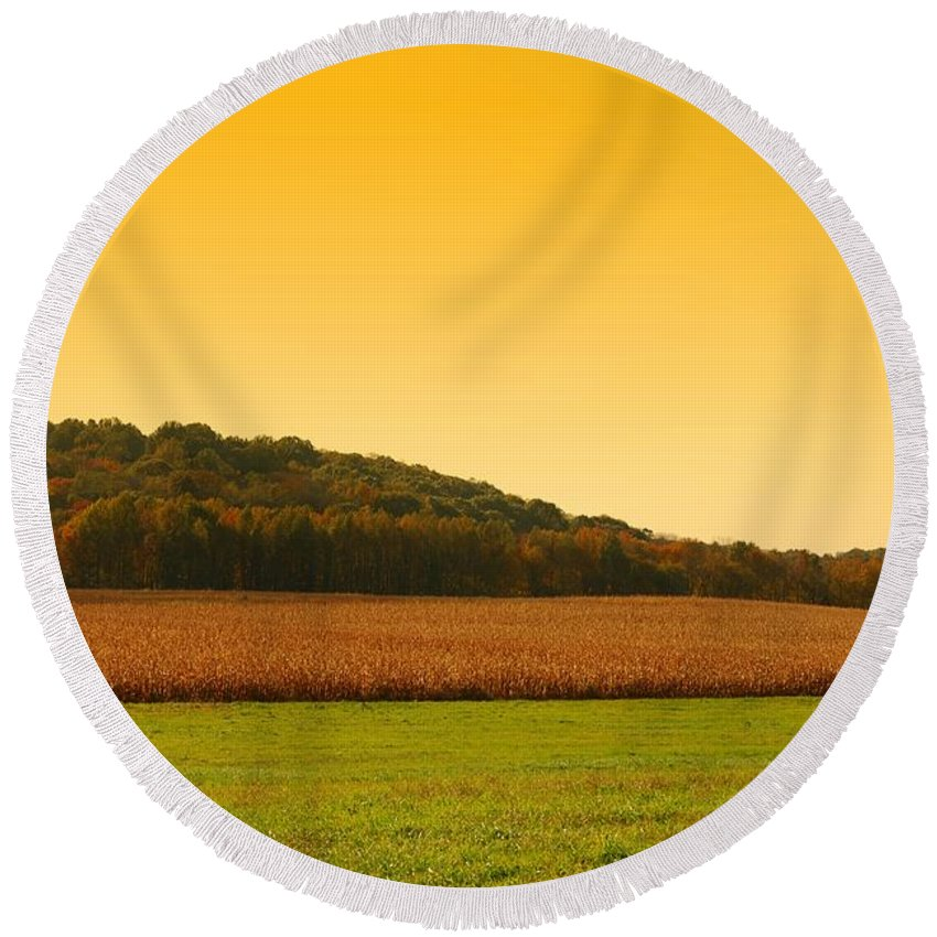 Autumn Landscapes Round Beach Towel featuring the photograph Touched By Golden Light - Battlefield Orchards by Angie Tirado