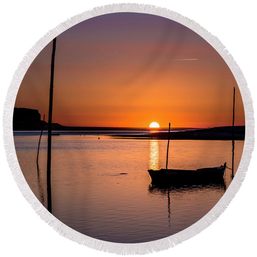 Sunset Round Beach Towel featuring the photograph Touched By The Sun by Edgar Laureano