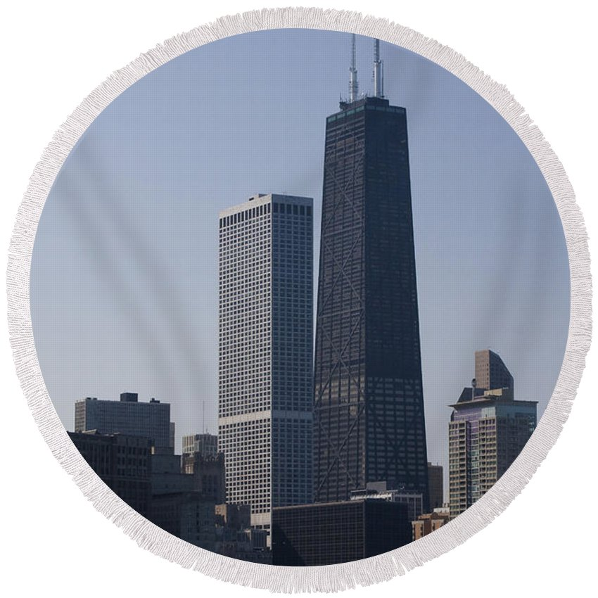 Chicago Windy City Skyscraper Building High Tall Big Blue Sky Urban Metro Round Beach Towel featuring the photograph Touching The Sky by Andrei Shliakhau