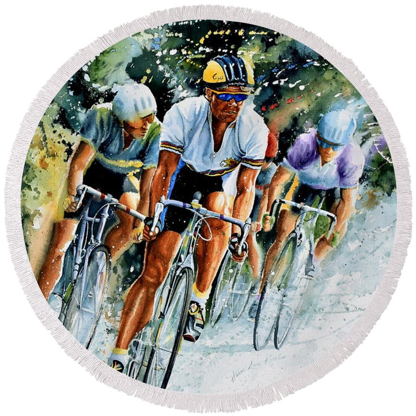 Tour De France Round Beach Towel featuring the painting Tour de Force by Hanne Lore Koehler