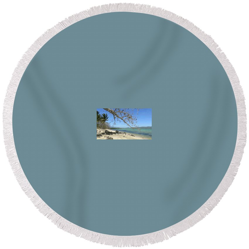 Round Beach Towel featuring the painting Tourism 2 by Raymond Dunkwu