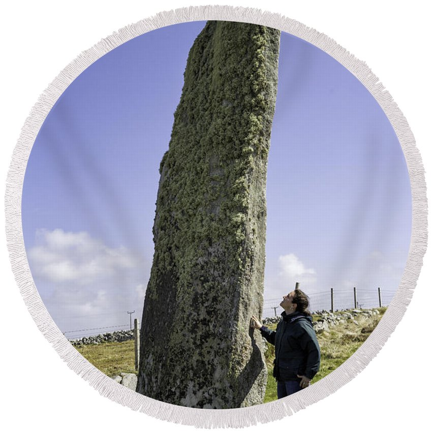 Stone Round Beach Towel featuring the photograph Tourist Admires The Trushal Stone by Fran Gallogly