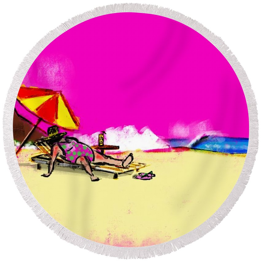 Round Beach Towel featuring the drawing Tourist Lady by Robert Tema