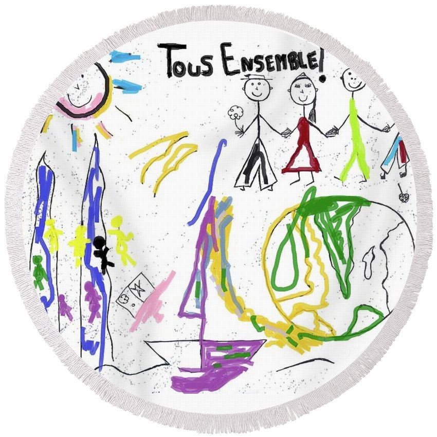 Landscape Round Beach Towel featuring the drawing Tous Enseble, All Together, Todos Juntos by Maria Frankmar
