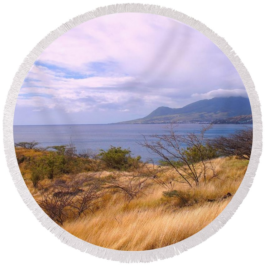St Kitts Round Beach Towel featuring the photograph Towards Basseterre by Ian MacDonald