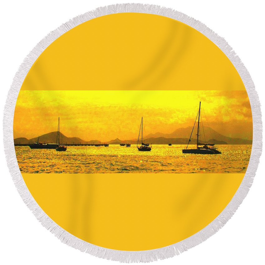 Basseterre Round Beach Towel featuring the photograph Towards Nevis by Ian MacDonald