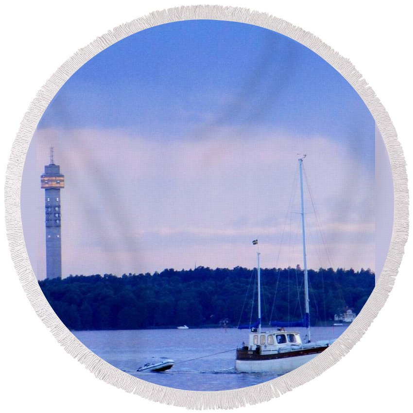 Kaknastornet Round Beach Towel featuring the photograph Tower And Masts by Rosita Larsson