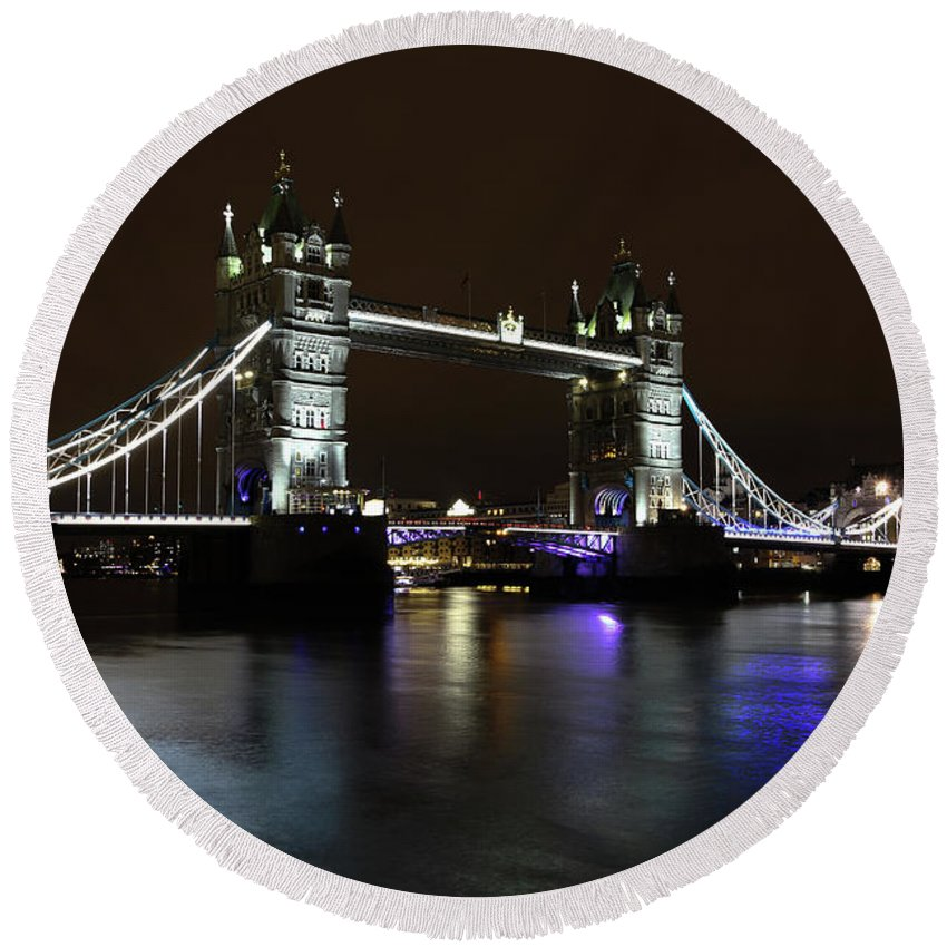 Bridge Round Beach Towel featuring the photograph Tower Bridge by Kayode Fashola