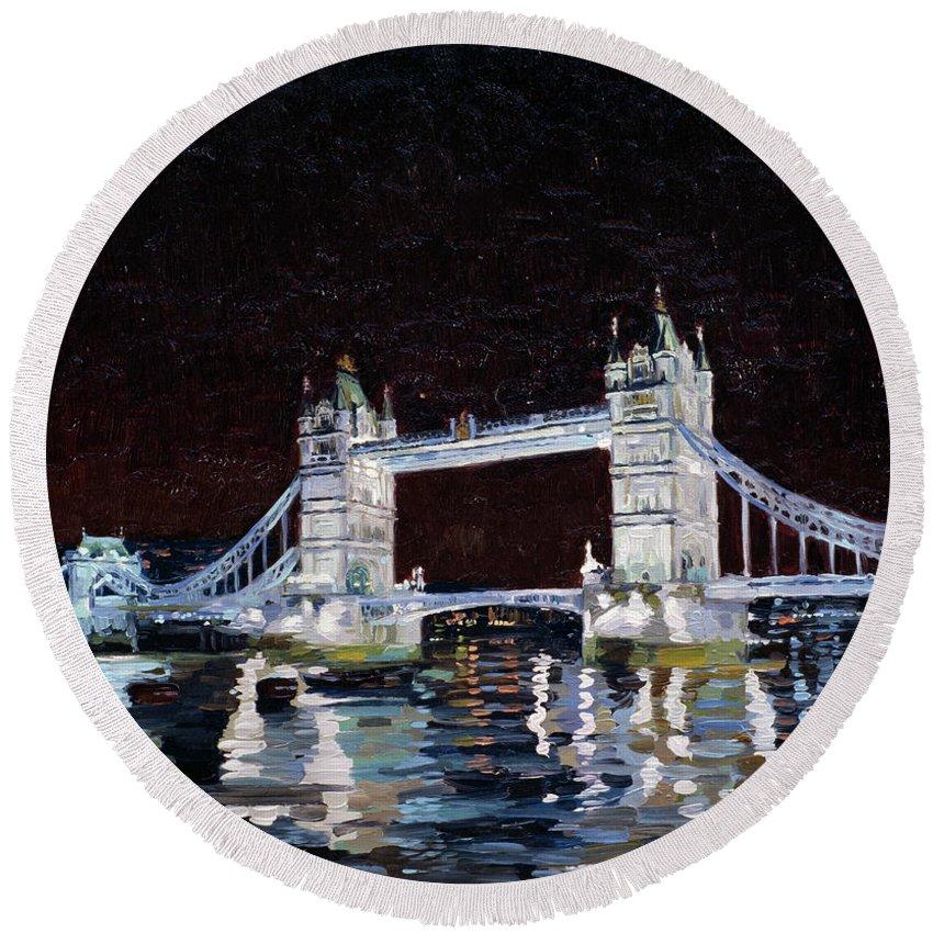 London Round Beach Towel featuring the painting Tower Bridge by Simon Kozhin