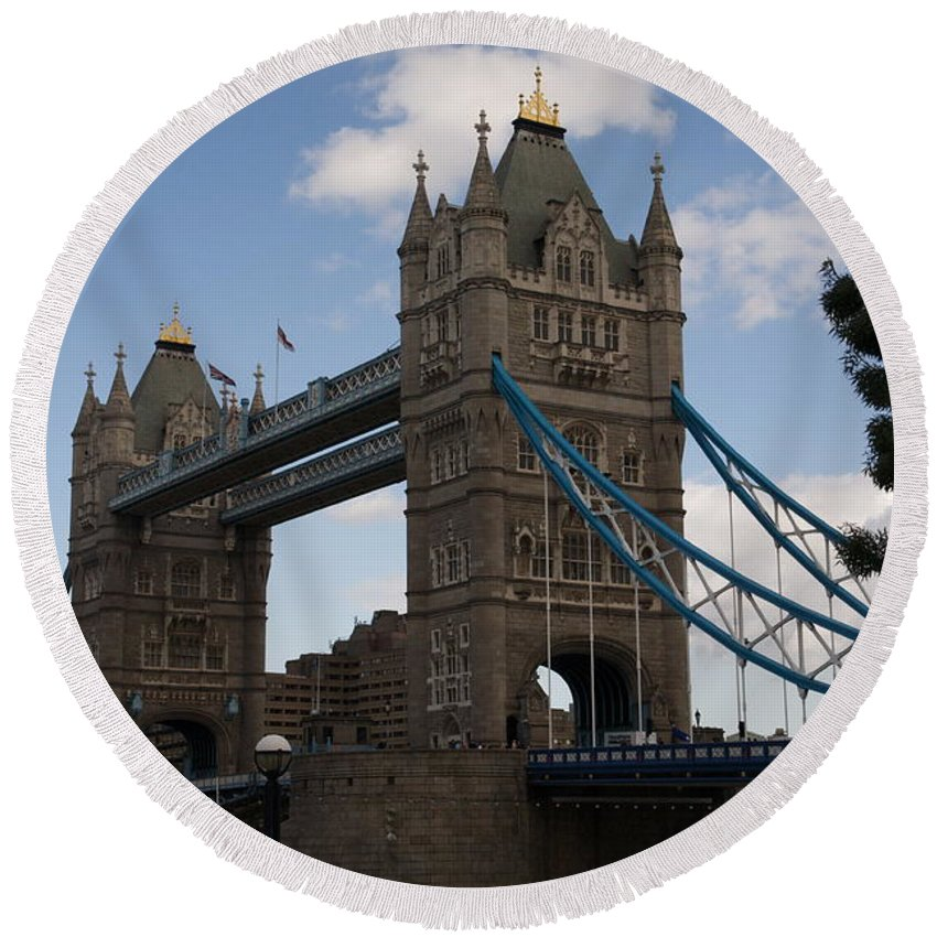 Towers Round Beach Towel featuring the photograph Tower Bridge London by Christopher Rowlands