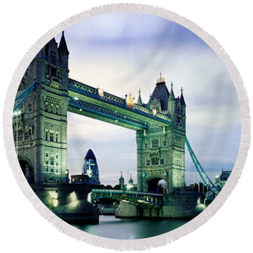 Tower Bridge Round Beach Towel featuring the photograph Tower Bridge - London by Rod McLean