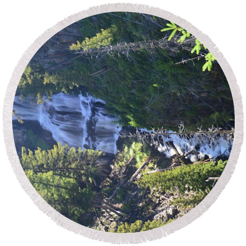 Yellowstone Round Beach Towel featuring the photograph Tower Falls by Wendy Fox