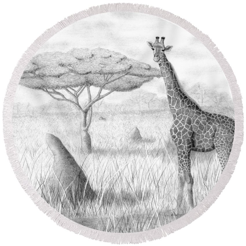 Giraffe Round Beach Towel featuring the drawing Tower In The Bush by Selinda Van Horn