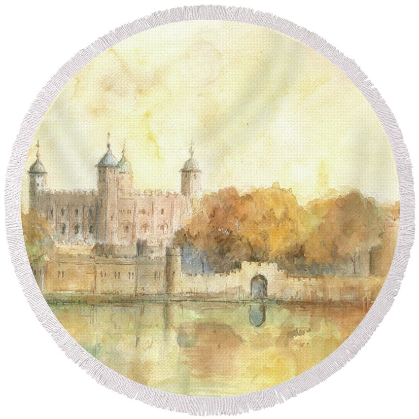 Tower Of London Round Beach Towels