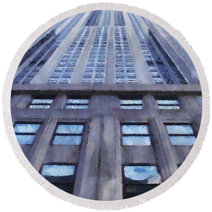 Empire State Building Round Beach Towel featuring the painting Tower Of Steel And Stone by Jeffrey Kolker