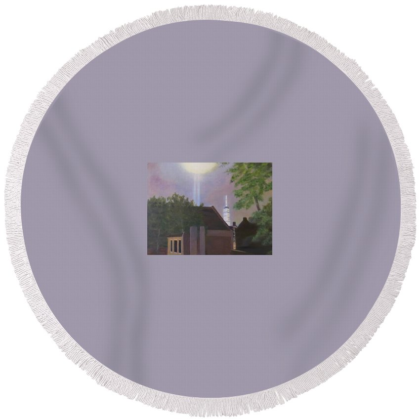 Cityscape Round Beach Towel featuring the painting Tower One by Sandra Bourret