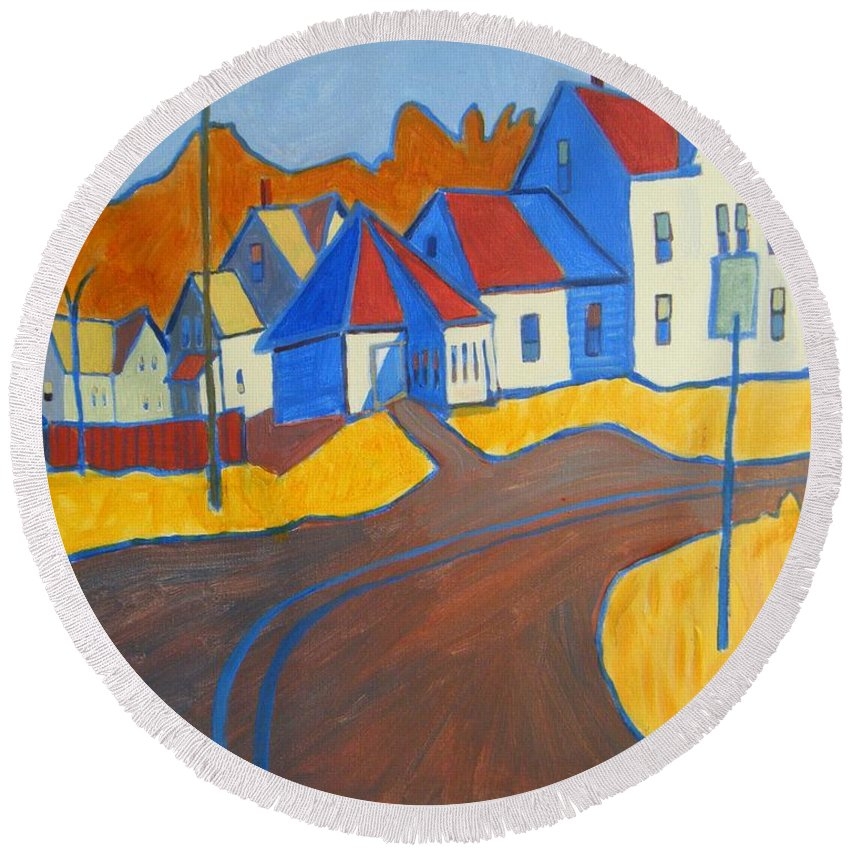 Buildings Round Beach Towel featuring the painting Town Center Plaistow Nh by Debra Bretton Robinson