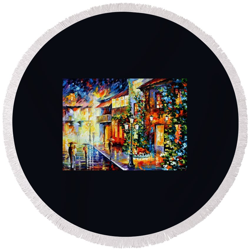 Afremov Round Beach Towel featuring the painting Town From The Dream by Leonid Afremov