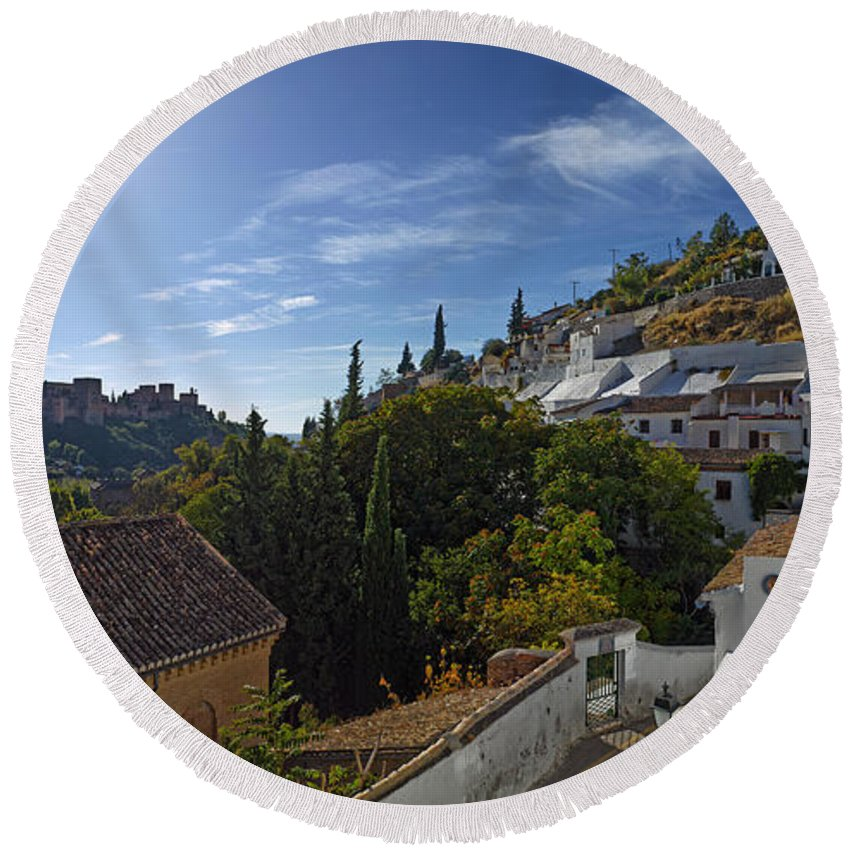 Photography Round Beach Towel featuring the photograph Town In A Valley, Sacromonte, Granada by Panoramic Images