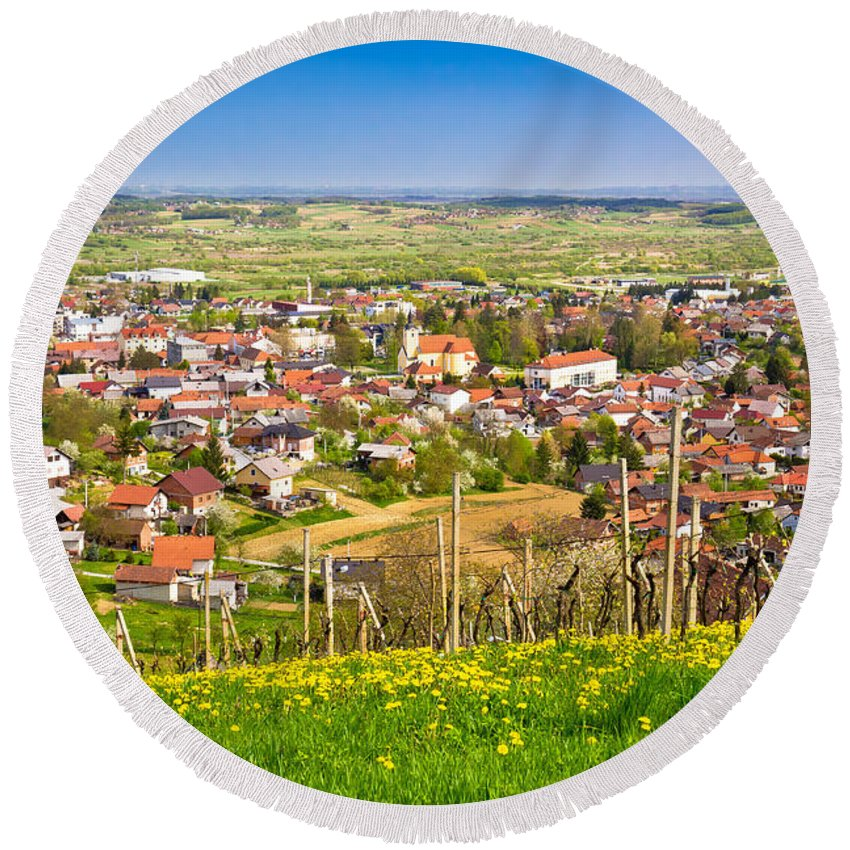 Ivanec Round Beach Towel featuring the photograph Town Of Ivanec Aerial Springtime View by Brch Photography