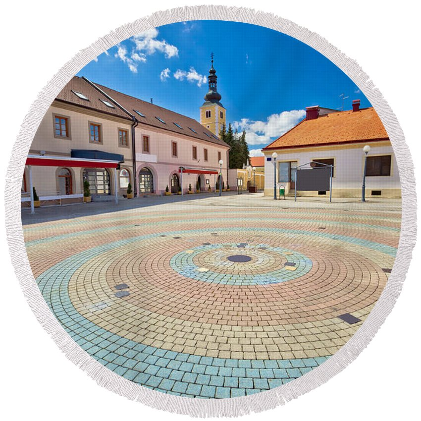 Ludbreg Round Beach Towel featuring the photograph Town Of Ludbreg Square Vertical View by Brch Photography