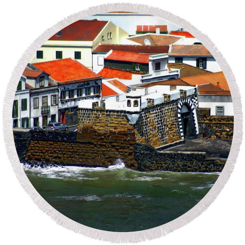 Town Village Round Beach Towel featuring the photograph Town Of Porto Pim by Anthony Dezenzio
