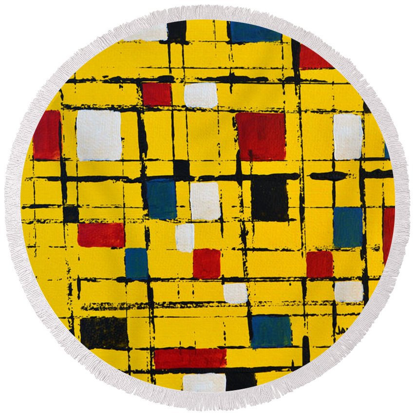 Town Square Round Beach Towel featuring the painting Town Square by James Pinkerton