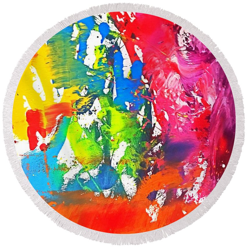 Round Beach Towel featuring the painting Toy Shop by Shahrzad Khosravi