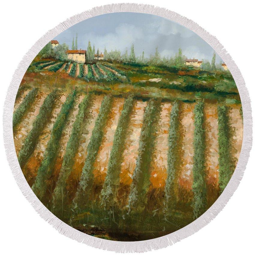 Vineyard Round Beach Towel featuring the painting Tra I Filari Nella Vigna by Guido Borelli