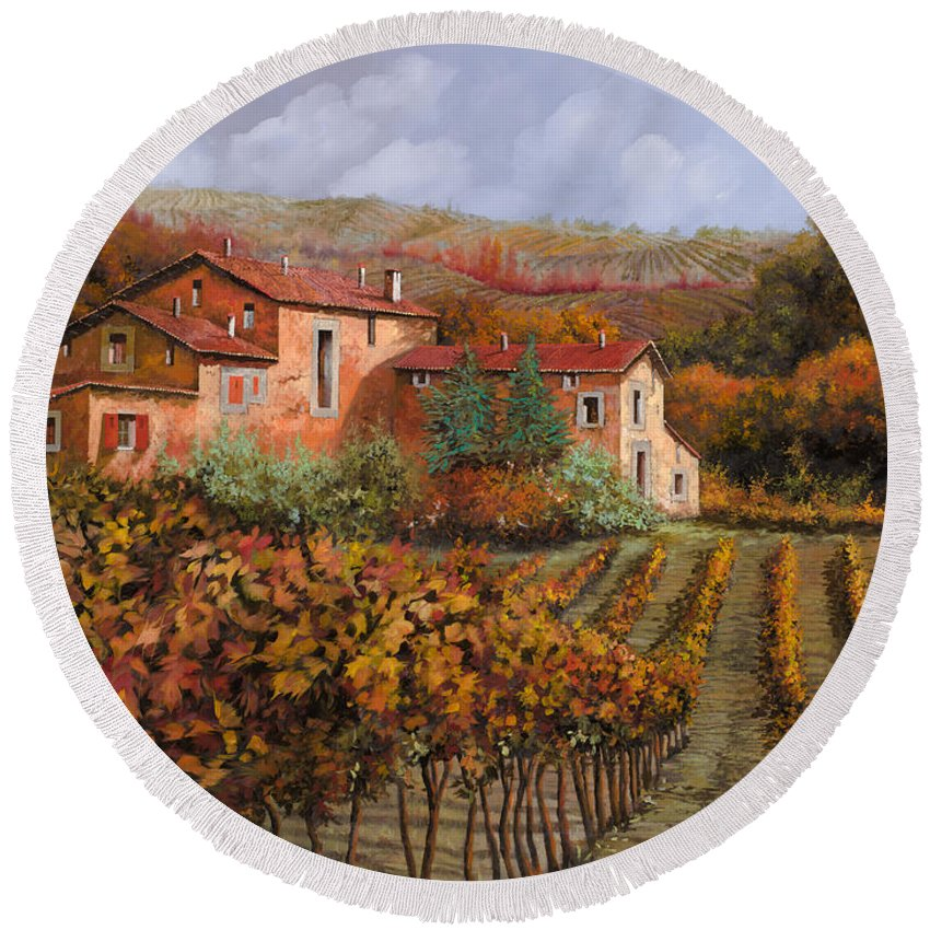 Wine Round Beach Towel featuring the painting tra le vigne a Montalcino by Guido Borelli