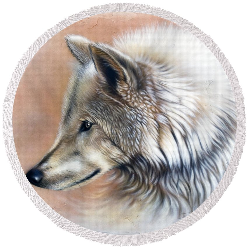 Wolves Round Beach Towel featuring the painting Trace IIi by Sandi Baker
