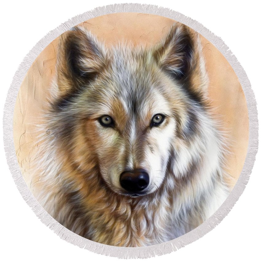 Wolves Round Beach Towel featuring the painting Trace Two by Sandi Baker
