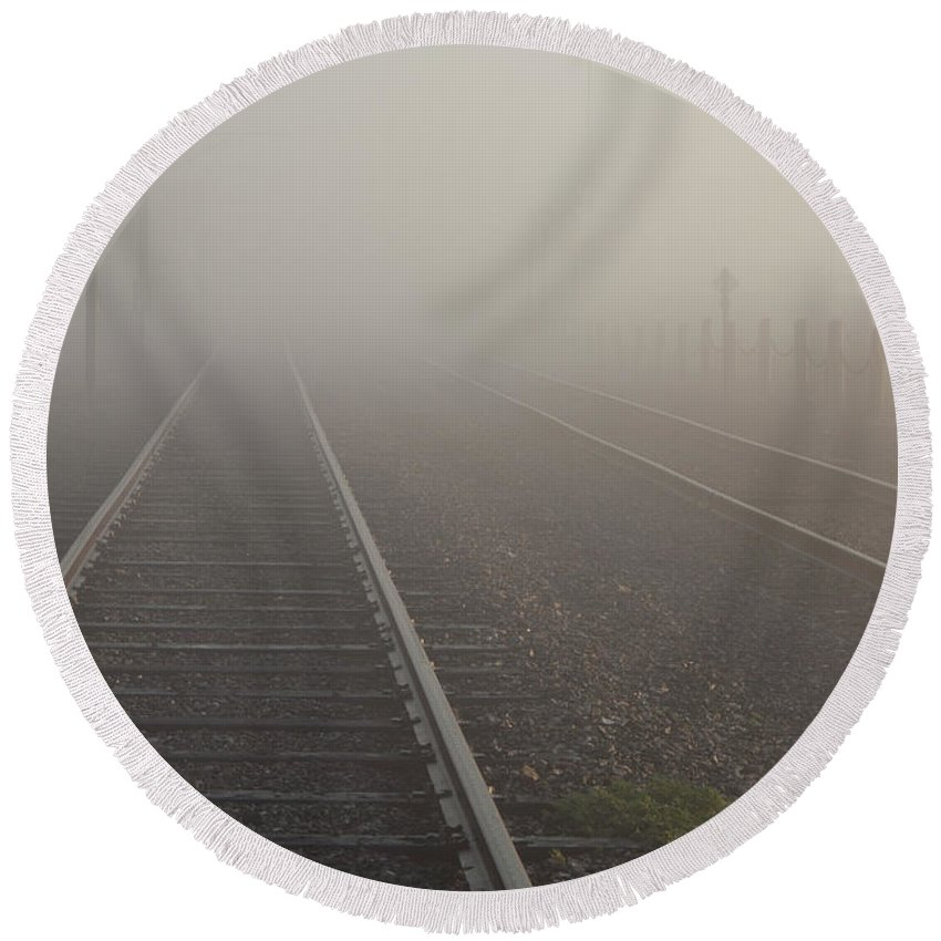 2011 Round Beach Towel featuring the photograph Tracks In The Fog by Larry Braun