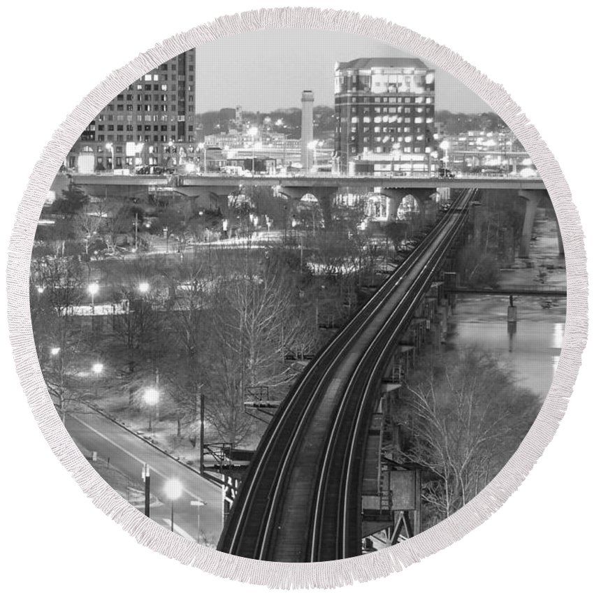 Richmond Round Beach Towel featuring the photograph Tracks Into The City by Aaron Dishner